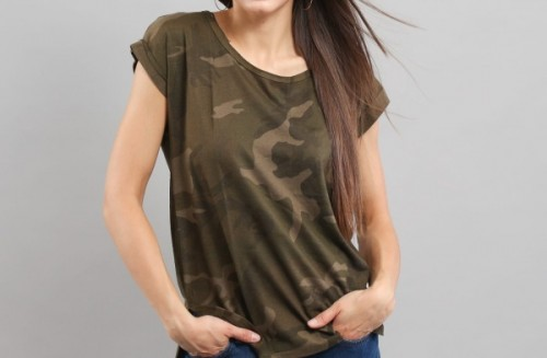 Urban Classic Ladies Camo Back Shaped Tee